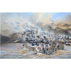 """Mara River Crossing"" - Original Oil On Canvas by Artist James Corwin"