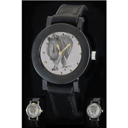 Granite 46 Wristwatch with a Hand-Engraved Dial Displaying the Fine Art of John Banovich