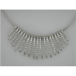 Lovely Omega-Style Diamond Necklace in 18K White Gold