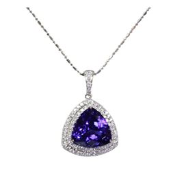 Exquisite 10-Carat Tanzanite Necklace Adorned with Diamonds