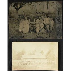 2 Antique Photos Tintype Rural Family Outdoor Group