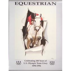 1996 Olympics US EQUESTRIAN Poster by Datian Horse Art