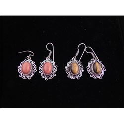 2 Pairs Sterling Earrings Red Sunstone, Tiger Eye