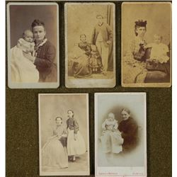 5 Antique CDV Photographs Families, Children, Babies