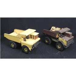 2 Vintage Large Yellow Tonka Dumptrucks 1970s