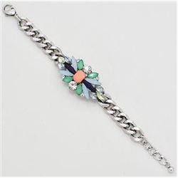 Silver Bracelet w/ Pink, Montanna Blue & Green Stones