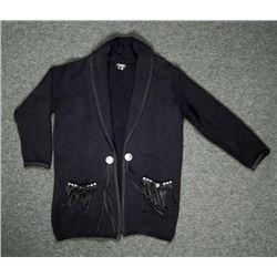 St Pierre Ladies Black Cotton & Leather Sweater Size L