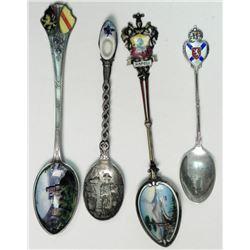 4 Vintage Enamel Sterling Souvenir Spoons Holland Italy
