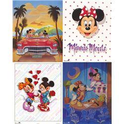 4 Disney Prints: Mickey & Minnie Mouse Love Play Car