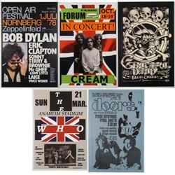 5 Repro Rock Posters- The Doors Bob Dylan Greatful Dead