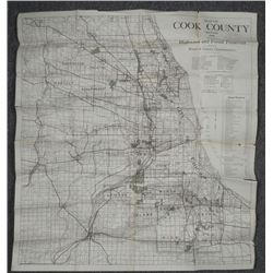 1926 MAP OF CHICAGO.S COOK COUNTY & SURROUNDING VILLAGE
