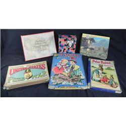 6 Antique Puzzles - Map, Peter Rabbit, Tuco, More