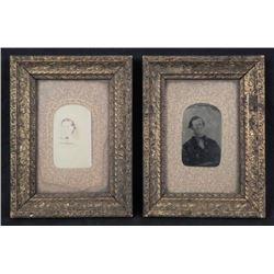 2 Antique Framed Portrait Photos Man Woman Victorian