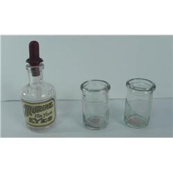 Antique Murine Bottle and 2 Mini Milk/Creamer Bottles