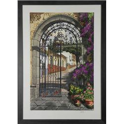 Juan Medina Signed Print Gateway to the Village -Framed