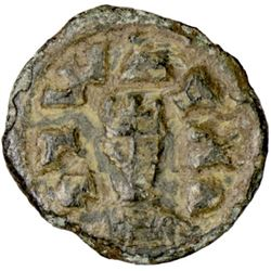 AXUM: Joel, ca. 550, AE unit (0.69g), M&J-134, facing bust / tall cross, lovely brown patina, VF-EF