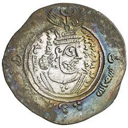 ARAB-SASANIAN: 'Abd Allah b. al-Zubayr, 680-692, AR drachm (4.07g), DA + G (Jahrom), YE56