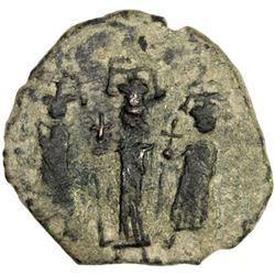 "ARAB-BYZANTINE: Three Standing Figures, ca. 640s-660s, AE fals (5.57g), year ""17"""