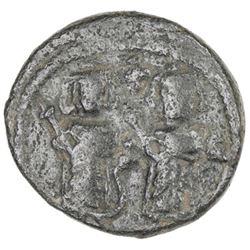 ARAB-BYZANTINE: Two Standing Figures, ca. 680-690, AE fals (2.96g), Dimashq, ND