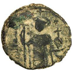 ARAB-BYZANTINE: Standing Emperor, ca. 670s-680s, AE fals (3.84g), Hims (Emisos), ND
