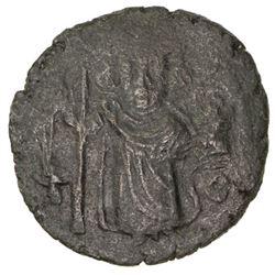 "ARAB-BYZANTINE: Standing Emperor, ca. 670-690, AE fals (3.16g), Damascus, ""year 17"""