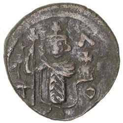 "ARAB-BYZANTINE: Standing Emperor, ca. 670-690, AE fals (3.39g), Damascus, ""year 17"""