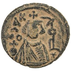 ARAB-BYZANTINE: Imperial Bust, ca. 680-690, AE fals (4.68g), Hims
