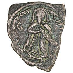 ARAB-BYZANTINE: Standing Caliph, ca. 690s, AE fals (2.70g), Halab, ND