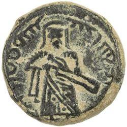 ARAB-BYZANTINE: Standing Caliph, ca. 692-700, AE fals (3.88g), ['Amman]