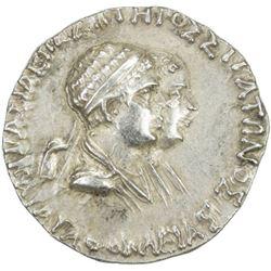 INDO-GREEK: Agathokleia & Strato I, ca. 130-125 BC, AR tetradrachm (9.78g)