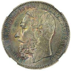 BELGIAN CONGO: Leopold II, 1865-1908, AR 5 francs, 1887