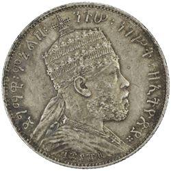 ETHIOPIA: Menelik II, 1889-1913, AR 1/2 birr, Paris, EE1889-A