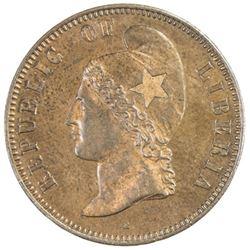 LIBERIA: AE cent, 1868