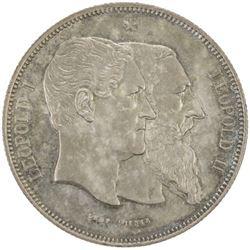 BELGIUM: Leopold II, 1865-1909, AR 5 francs, 1880
