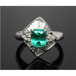 #1 PLATINUM 900 EMERALD 1.25ct. & 26 SIDE DIAMONDS