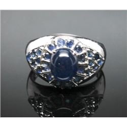 #3 STERLING SILVER SAPPHIRE 4.0cT & 0.60ct. MEN'S