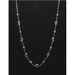 #15 10K GOLD SAPPHIRE 8.10ct & MOON STONE NECKLACE