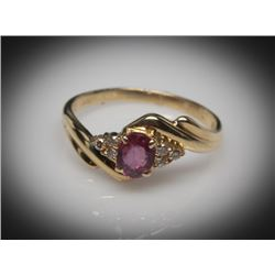 #18 18K GOLD RUBY 0.43ct & DIAMOND 0.06ct RING