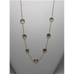 #21 10K GOLD LEMON QUARTZ 20.0ct NECKLACE