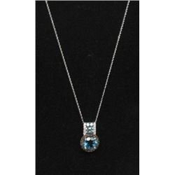 #30 10K GOLD BLUE TOPAZ, SMOKEY QUARTZ, WHITE