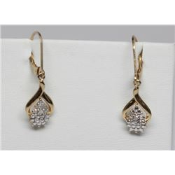 #61 STERLING SILVER GOLD PLATED DIAMOND EARRINGS