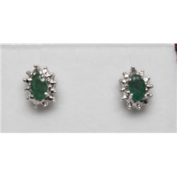 #72 14K GOLD EMERALD 1.04ct & DIAMOND 0.16ct