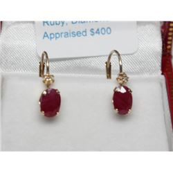 #79 10K GOLD RUBY 1.20ct & DIAMOND EARRINGS