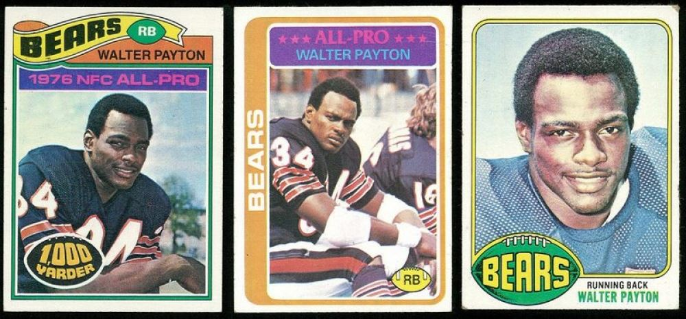 Lot Of 3 Walter Payton Football Cards With 1977 Topps 360