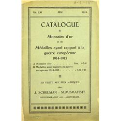 Catalogue of WWI Medals, Written during the War
