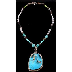 Navajo Large Turquoise Pendant Necklace