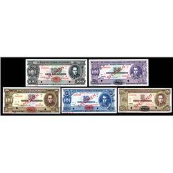 Banco Central De Bolivia, Law of 1945, Specimen Group of 5 Different.