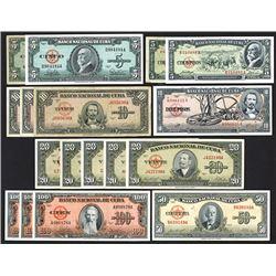 Banco Nacional de Cuba, 1949-60, Group of 17 Issued Notes