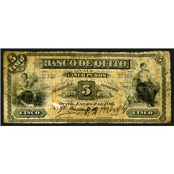 Banco de Quito. 5 Pesos. 1880. Pick #S242 Unlisted as an issued note.