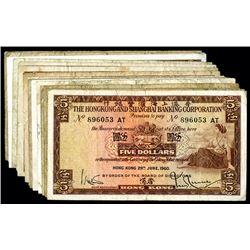 Hong Kong and Shanghai Banking Corporation. Group of 5 Dollar notes.